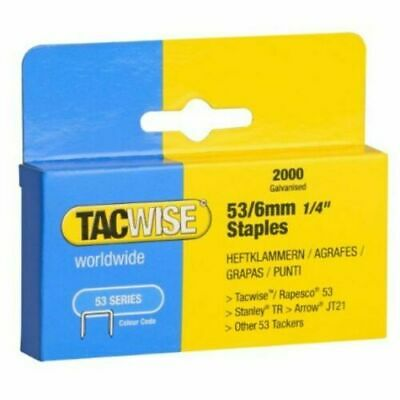 Tacwise Type 53/6mm Stainless Steel Hugely popular Staples for Staple Gun 2000BX