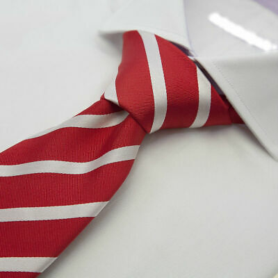 New Men's Designer Red Silk Tie with Thin White Stripes