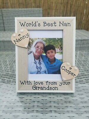 Personalised Photo Picture Frame The worlds best Nan Grandad Mum Dad Gift