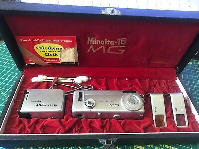 Vintage Minolta 16 MG Subminiature Camera Outfit Boxed Japan Flash Filters Case