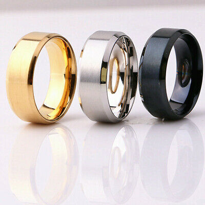 Wholesale 50pcs Silver/Gold/Black Men's 8MM Stainless Steel Band Rings Jewelry