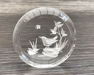 Lucite Resin Reverse Carved Etched Bird & Butterfly Art Paperweight Vintage 1950