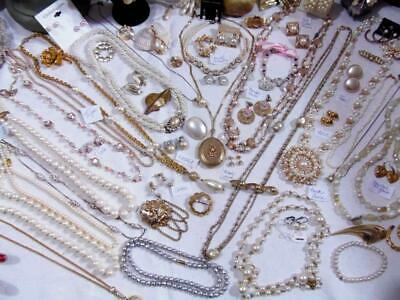 Vintage Faux Pearl Gold Plate Jewelry Lot 92 Pc Park Lane S.Coventry Trifari