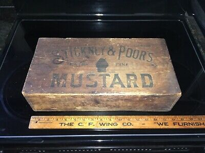 Late 19Th - Early 20Th Century Stickney & Poors Mustard Wooden Advertising Crate