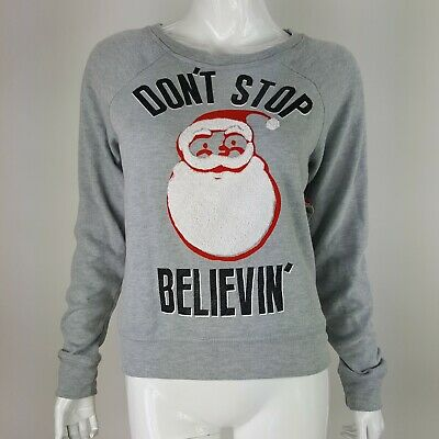 Dont Stop Believin' Santa Christmas Juniors Soft Terry Knit Pullover Sm-XL NWT