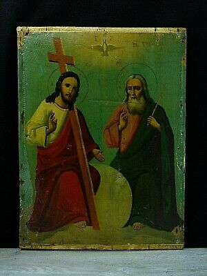 Antique 19th  Russian Hand Painted Wooden Icon. The Holy Trinity.