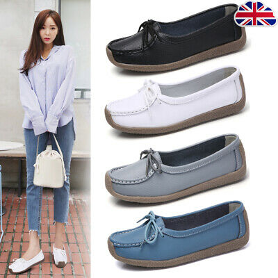 Ladies Womens Flats Deck Moccasins Loafers Lazy Casual Comfort Slip On Shoes NEW