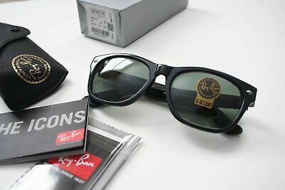 NEW Ray Ban RB2132 901 New Wayfarer Black Sunglasses Green G-15 Lens 55 mm