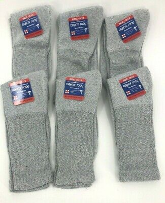 New Diabetic Crew Socks Circulatory Health Cotton Loose Fit Top 6 Pairs  Gray