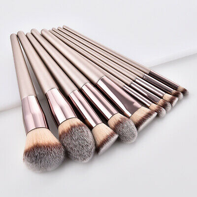 10pcs Pro Makeup Brushes Set Foundation Powder Blush Eyeshadow Lip Brush Tools
