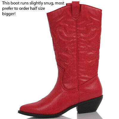 c7b1c724e54 NEW WOMENS WESTERN Cowboy Pointed Toe Knee High Pull On Tabs Boots ...