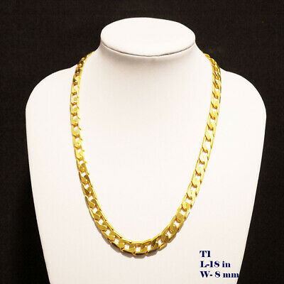 "Mens 24K Real Solid Yellow Gold plated Curb Chain Necklace Jewellery 24""x 7mm"