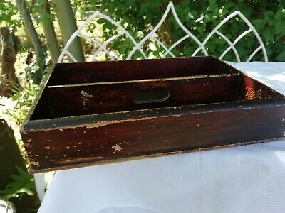 Antique Rustic Hand Made Country Painted Pine Cutlery Tray Storage Box  C1900