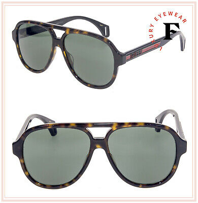 GUCCI SEGA Stripe 0463 Havana Black Green Sport Aviator Sunglasses GG0463S