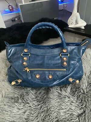 bas prix 26158 b04ef BALENCIAGA PARIS GIANT Sac Shopper Bag City Blue Leather Gold Hardware  Italy Vgc