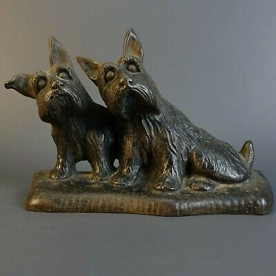 Antique  HUBLEY Two SCOTTISH TERRIER Cast Iron Dog Doorstop
