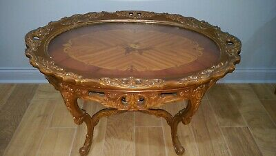 Vtg Antique Lift Top Tray Tea Serving Table Coffee Table Side Carved Inlay