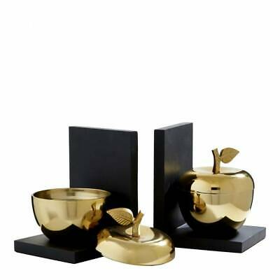 Premier Housewares Gold Metal Apple Fruit Black Wood Bookends Storage