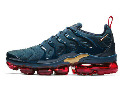 Nike Air Vapormax Plus Men Shoes 924453-405 Navy-Blue/Metallic-Gold/Red Sneakers