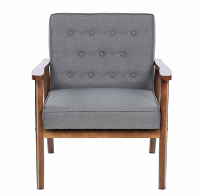"""30"""" Mid-century Retro Grey Fabric Upholstered Wooden Lounge Chair Home Furniture"""