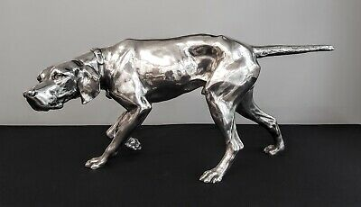 Remarkable Pointer Dog Large Silver Plate Statue Circa 1920 Detailed Superb!