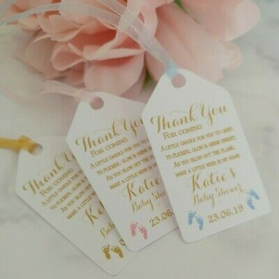 Personalised Baby Shower Candle Favour Tags