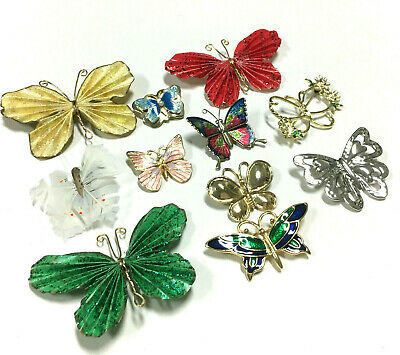 BIG LOT Vintage & New BUTTERFLY Figural Enamel Brooches Gold/Silver Tone S1H