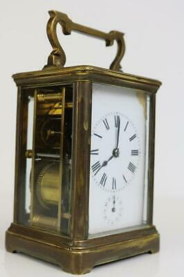 ANTIQUE CARRIAGE CLOCK with 3 TRAIN GONG STRIKE & ALARM by R&Co. PARIS service