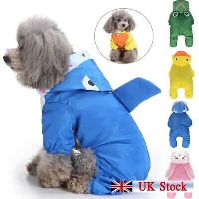 Pet Dog Rain Coat Clothes Puppy Waterproof Jacket Hooded Raincoat Outdoor 5Color