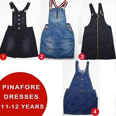 Girls Denim Pinafore Dresses Dungarees 11-12 Years Brand New 50% OFF(PD11-12)