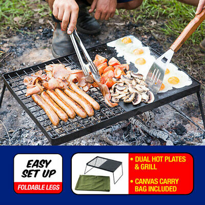 BBQ Plate Folding Portable Hotplate Camping Grill Coated Steel Adventure Kings