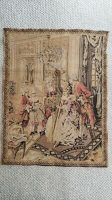 Antique Hand Made Tapestry Parlor Scene, France!