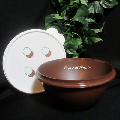 Tupperware New Rare Brown 8 3/4 Cup Wonderlier Bowl with White Coconut Seal
