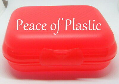 Tupperware NEW Oyster Packable Keeper, Organizer, Hinged, Snap Clasp Guava Red