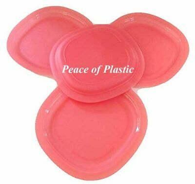 Tupperware New~ Set 4 Impressions Microwave Luncheon Plates in Guava Coral Color