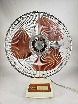 VINTAGE Tatung 16 INCH OSCILLATING FAN  WITH CLEAR BROWN BLADES WORKS PERFECT