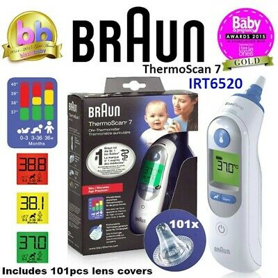 BRAUN Thermoscan 7 IRT6520 Baby/Adult Digital Ear Thermometer + 101 Lens Covers