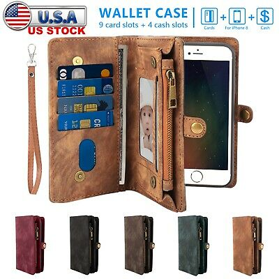 Leather Wallet Magnetic Flip Stand Card Case Cover for iPhone X 8 7 6S Plus US