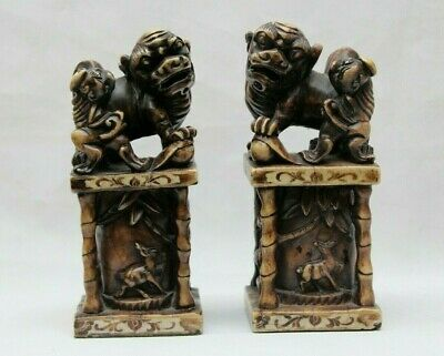Nice Vintage Chinese Pair Stone Carved Foo Dogs Bookends 7.5''H