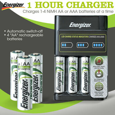 Energizer Recharge Battery Charger + 4 AA Battery AU Stock