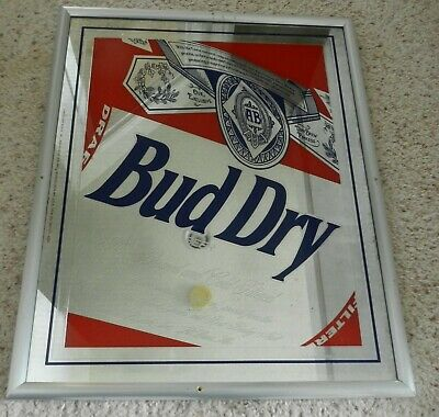 "Vintage 1990 Bud Dry original Beeco mirror sign 20"" X 16-3/4"" item # 540-201"
