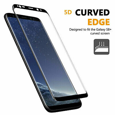 For Galaxy S8+ Plus 5D Tempered Glass Full Cover Screen Protector Guard Black OZ