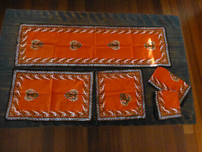 Retro orange Cotton Batic small Table setting runner + 2 napkins  + 2 placemats