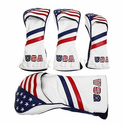4PCS Golf Headcovers USA Flag Cover for Driver Fairway Wood Hybrid Iron Putter