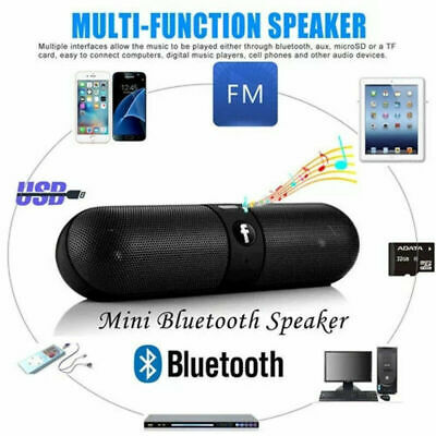 Portable Pill Wireless Bluetooth Outdoor Speaker Supports FM TF Card USB UK Ship