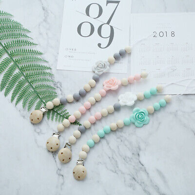 Flower Silicone Beads Teether Wood Bead Baby Teething Pacifier Clip Holder Chain
