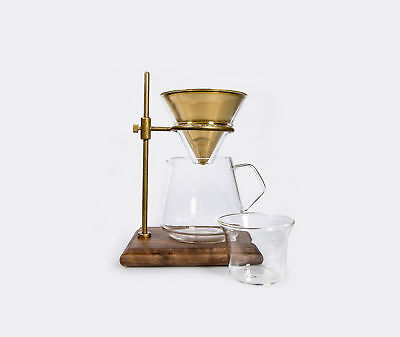 Kinto SCS Coffee Brewer Set with Brass Stand, Filter & 700ml Glass 4-cup Server
