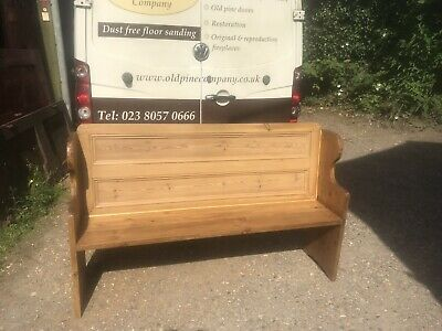 Hand Made Pine Pew Using Old Cupboard Door As The Back