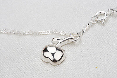 Shiny 925 Sterling Silver Plt Apple Charm Pendant Necklace Ladies Girls Gift UK