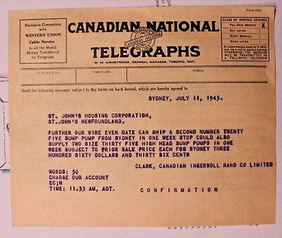 1945 Canadian National Telegraphs - North Sydney N.s Canada To Newfoundland